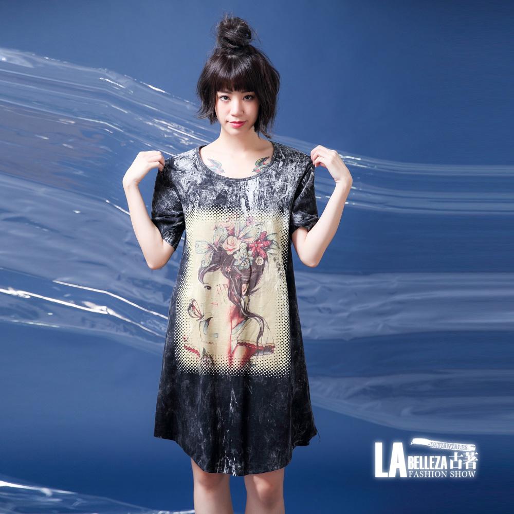古著 仿舊感遮眼美人頭頂蝴蝶髮飾水洗棉洋裝