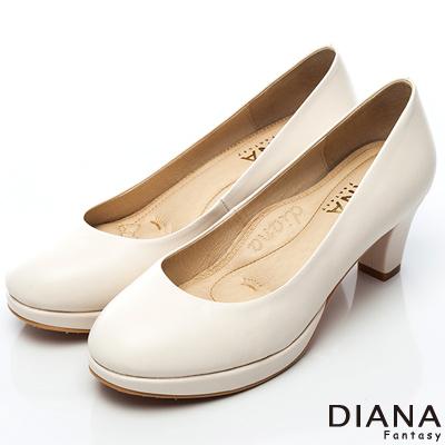 DIANA 漫步雲端焦糖美人E款--素面真皮制鞋-米
