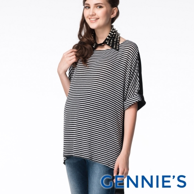 Gennies專櫃-Feravani系列-不敗條紋休閒款上衣(C3604)黑白條
