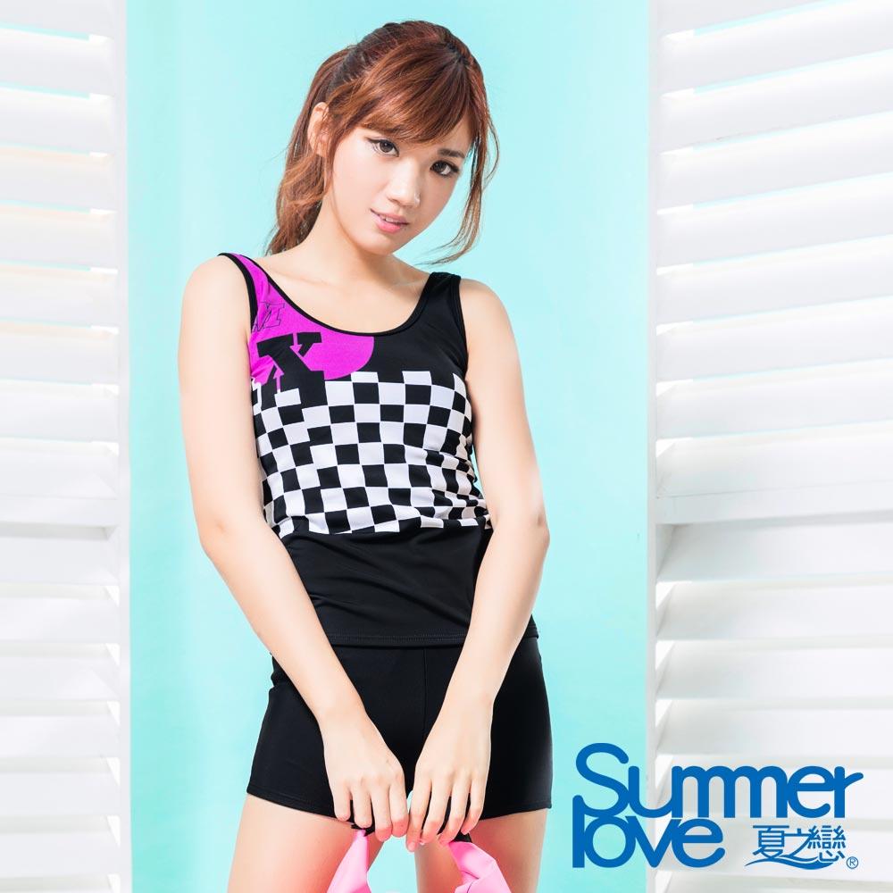 夏之戀SUMMERLOVE 比基尼泳裝 背心短褲兩件式 賽車女郎印花款