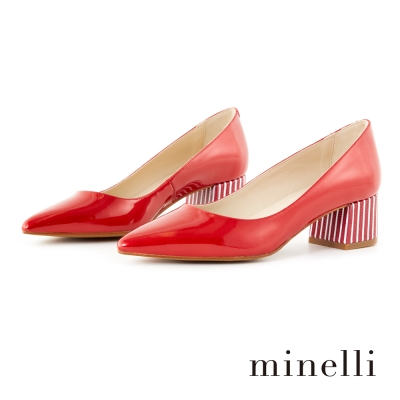 Minelli-牛漆皮條紋粗低跟鞋-漆皮紅