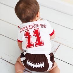 RuffleButts 小男童包屁褲-橄欖球款