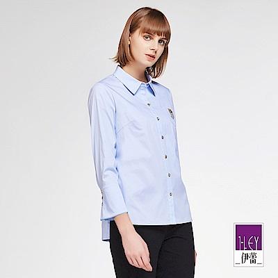 ILEY伊蕾 學院風裝飾透氣棉質襯衫上衣(白/粉/水)