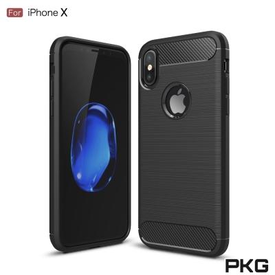 PKG  Apple IPhone X 抗震防摔手機殼-碳纖維紋