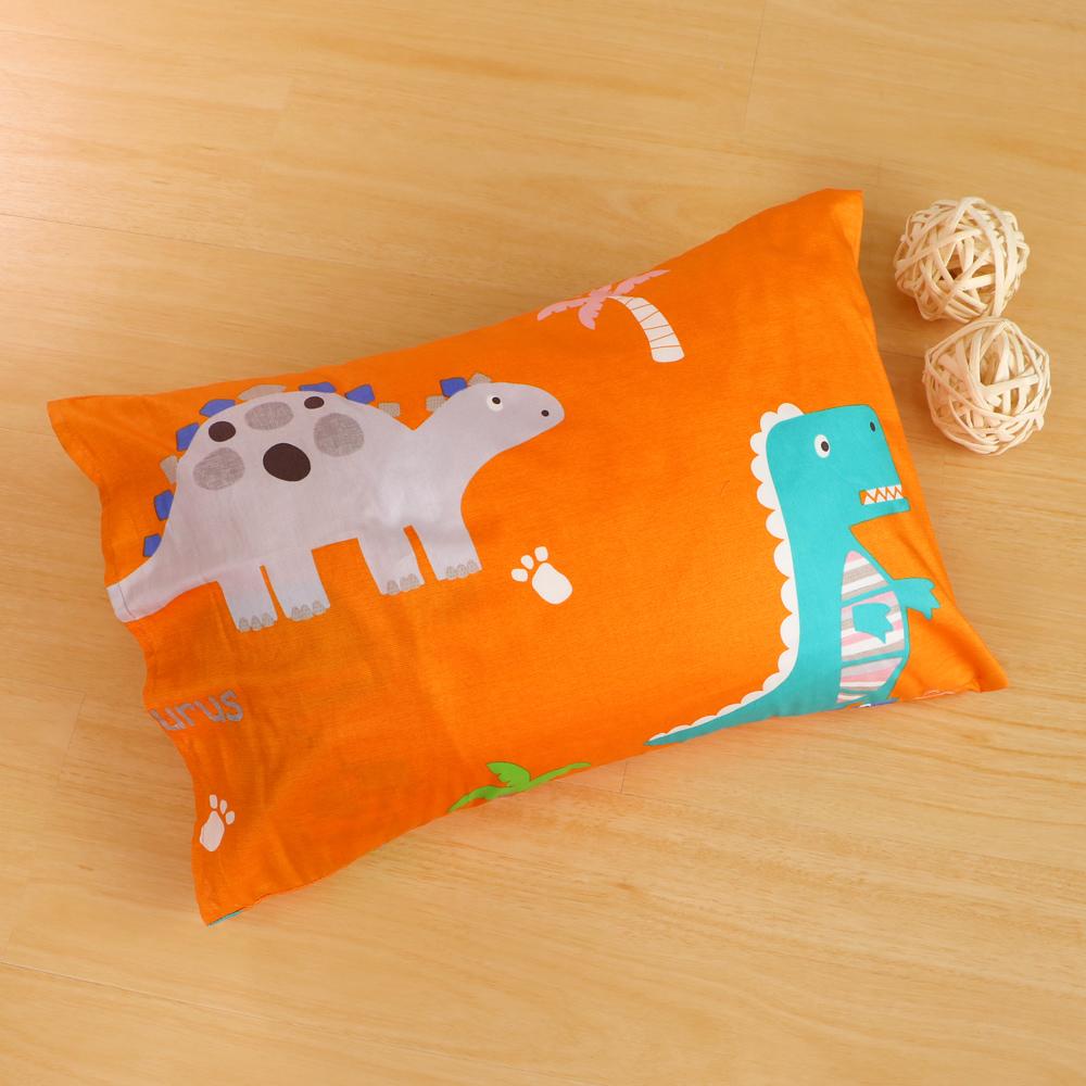 鴻宇HongYew 美國棉防蹣抗菌 恐龍公園橘-兒童透氣多孔纖維枕
