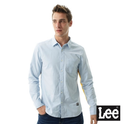 Lee 牛仔長袖襯袖/UR-男款-淺藍色
