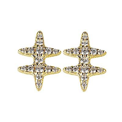 apm MONACO SYMBOLE系列晶鑽鑲飾符號設計純銀耳環(金)