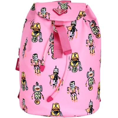 PRADA Robot 彩繪機器人印花尼龍後背包(粉色)