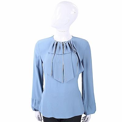 ELISABETTA FRANCHI 珍珠領片裝飾藍色澎袖絲質上衣