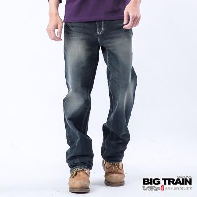 BIG TRAIN 日式跨版龍紋垮褲-中藍