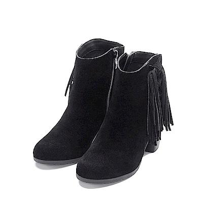 LisaVicky 美式個性側邊流蘇粗跟短靴-神秘黑