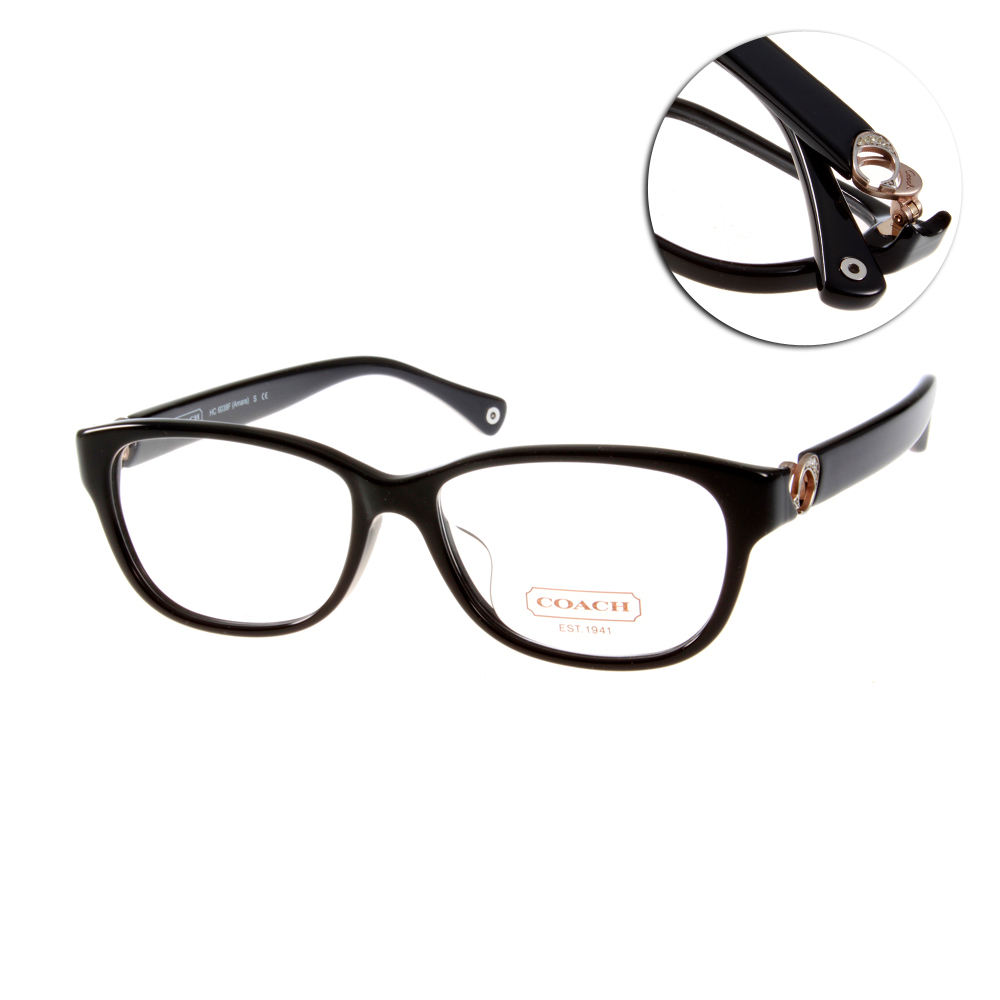 COACH眼鏡 甜美愛心LOGO款/黑#CO6038F 5002