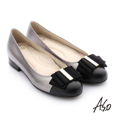A.S.O 個性美型 全真皮蝴蝶結奈米低跟鞋 灰色