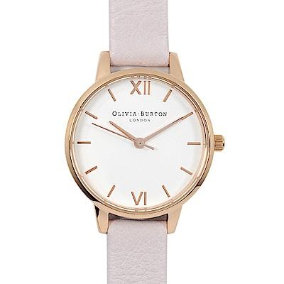 Olivia Burton英倫復古手錶 簡約刻度錶面粉色真皮錶帶玫瑰金框30mm