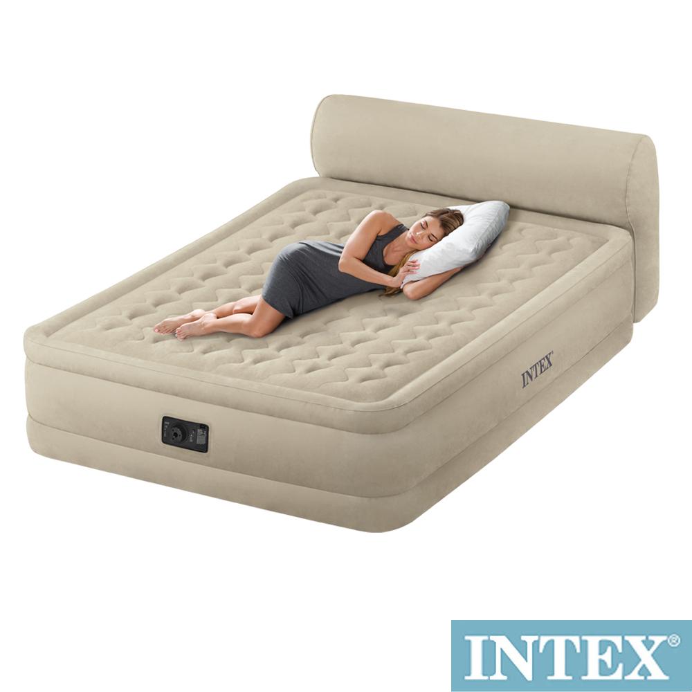 INTEX 超厚絨豪華雙人加大充氣床-附床頭檔片(內建電動幫浦)fiber-tech新型