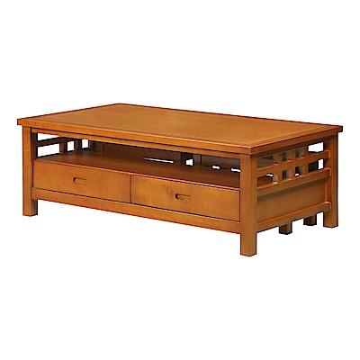 AT HOME-格林柚木實木二抽大茶几附椅凳(130*70*45cm)