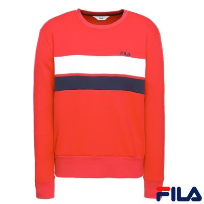 FILA 男款長袖圓領T恤-紅1TER-1401-RD