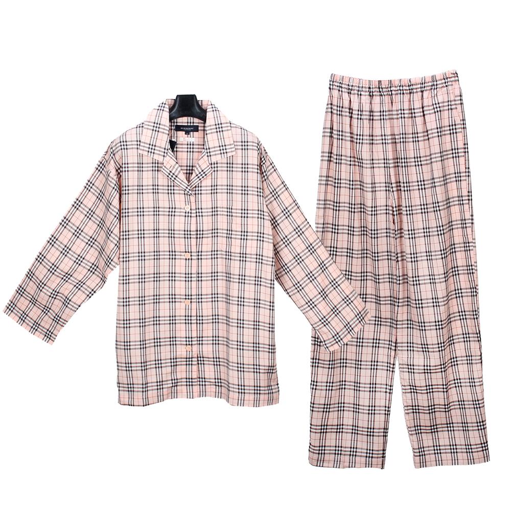 BURBERRY經典格紋純棉休閒家居服-淺粉色