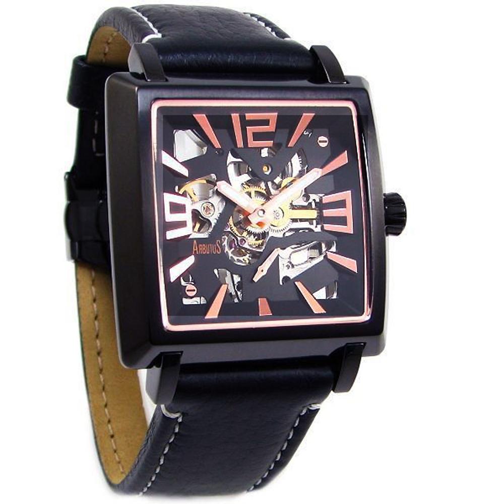 ARBUTUS 愛彼特紳士風尚鏤空機械手錶-黑/40mm
