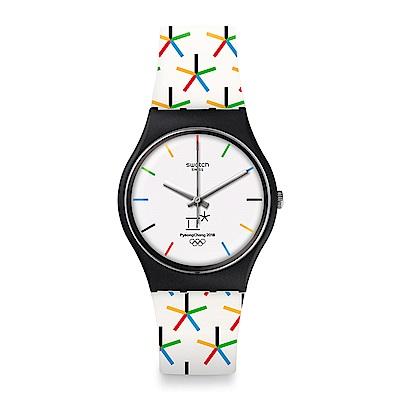 Swatch 原創系列 STAR GAMES 白色奧運手錶