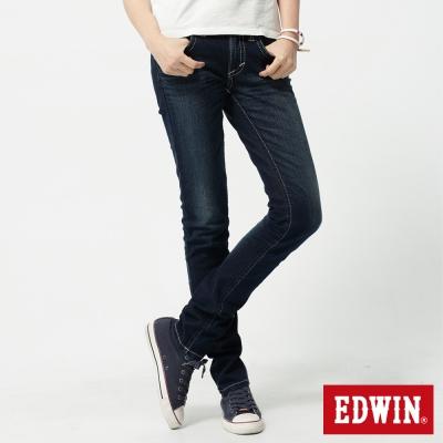EDWIN 窄直筒MISS BT後袋剪接牛仔褲-女-原藍磨