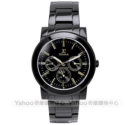 SIGMA 都會簡約三眼時尚手錶-黑X金/37mm