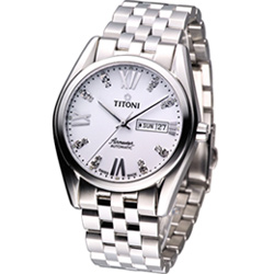 TITONI Airmaster 空霸Day-Date 機械腕錶-白/41mm
