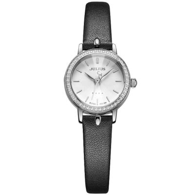 JULIUS聚利時 璀璨華爾滋鑽飾真皮腕錶-黑色/23mm
