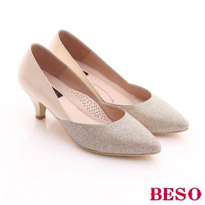 BESO-甜美俏麗-真皮金蔥雙色拼接跟鞋-粉紅