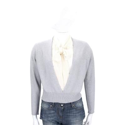 FABIANA FILIPPI 灰色V領美麗諾羊毛短版罩衫(75%WOOL)