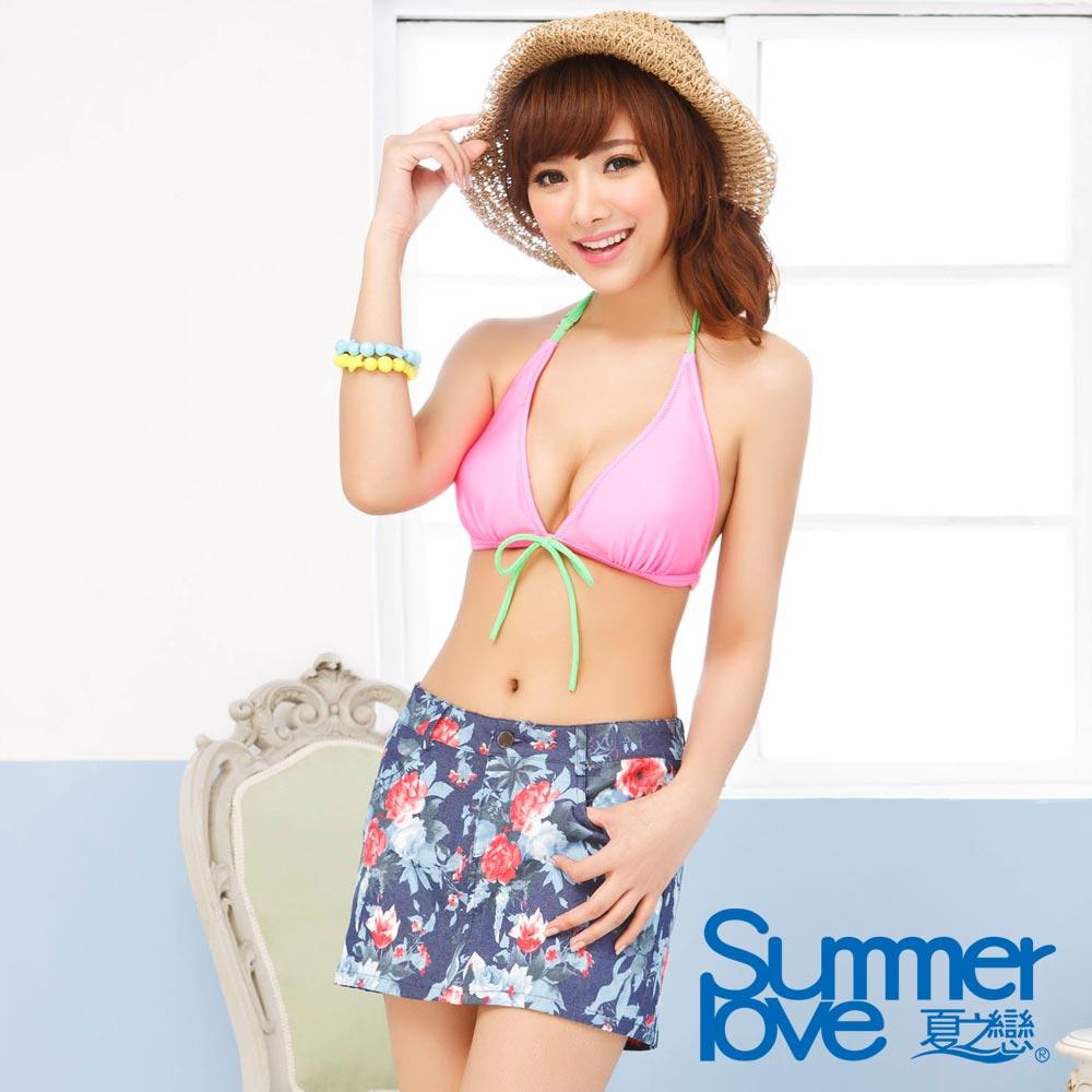 夏之戀SUMMERLOVE  典雅花卉圖案彈性外搭褲裙