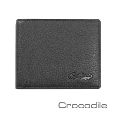 Crocodile 經典系列荔紋軟皮縫線短夾 0103-7406-01