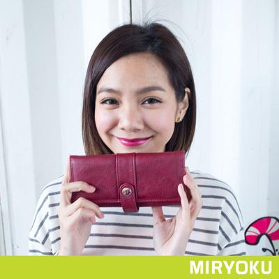 MIRYOKU-清新率性系列-多夾層釦式軟質長夾-棗紅