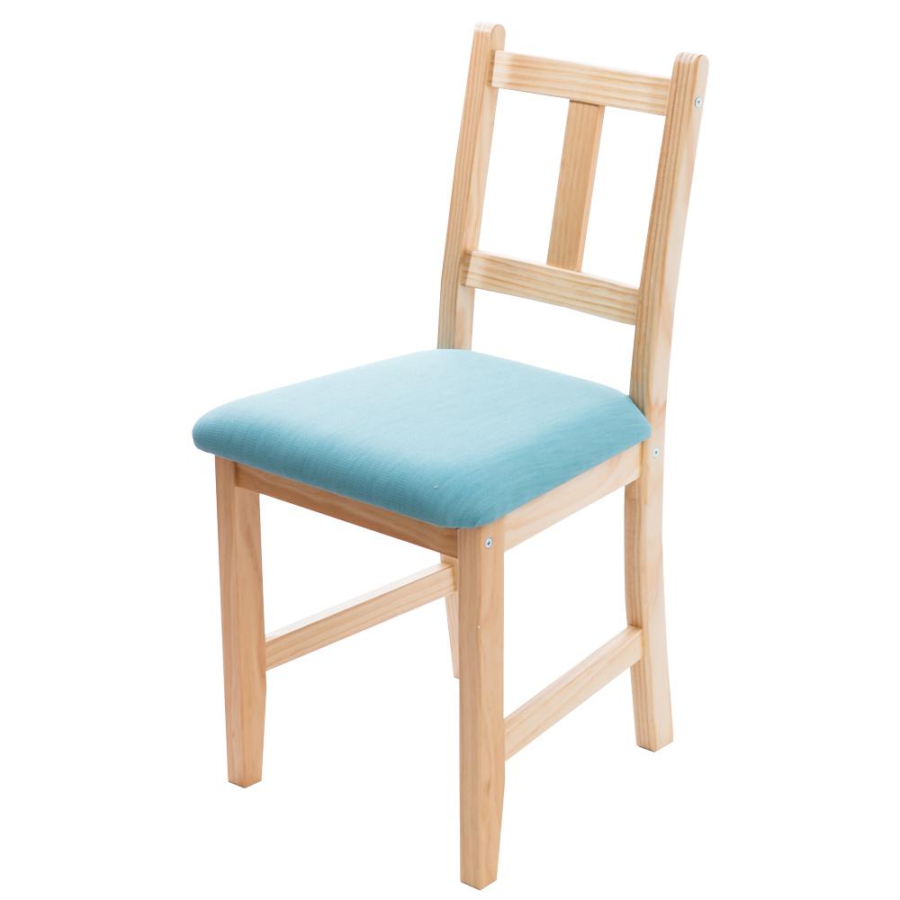 CiS自然行實木家具- 南法實木餐椅(扁柏自然色)湖水藍椅墊