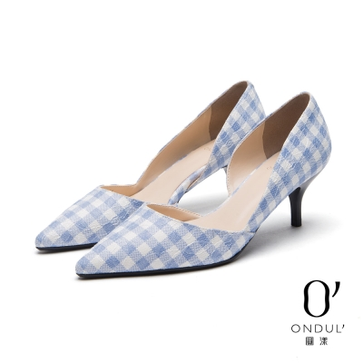 達芙妮x高圓圓 圓漾系列 高跟鞋-格紋蕾絲中跟尖頭鞋-淺藍