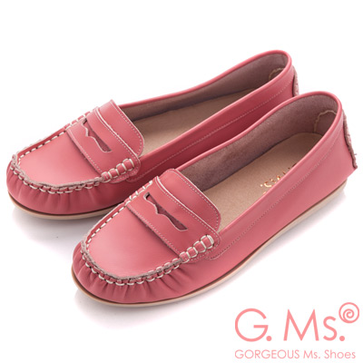 G.Ms. MIT系列-專利水洗皮革手工全真皮樂福鞋-玫瑰粉