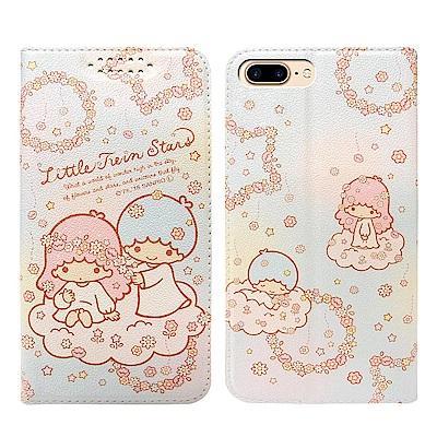 Kikilala 雙子星 iPhone 8 / 7 Plus 粉嫩系列彩繪磁力皮套(花圈)