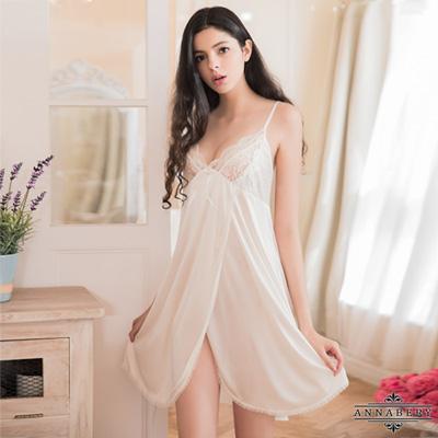 大尺碼Annabery純白蕾絲側開襟柔緞睡衣 白L-2L Annabery