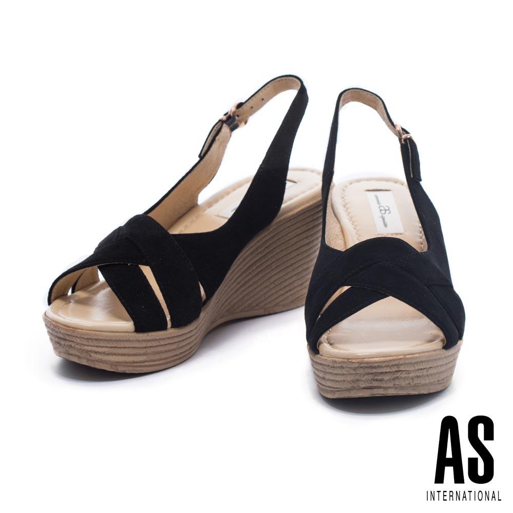 涼鞋AS編織風情羊麂繫帶草編楔型高跟涼鞋-黑