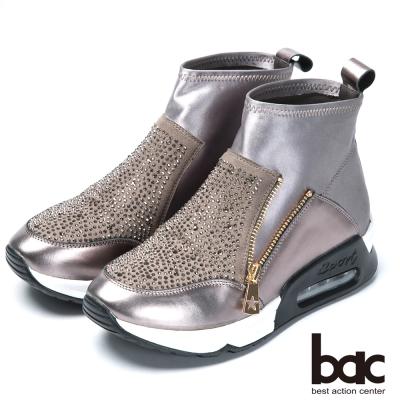 bac混搭時尚 萊卡水鑽休閒短靴-銀灰
