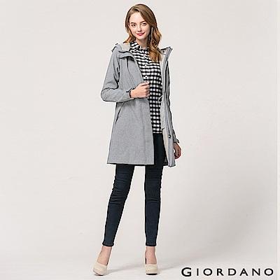GIORDANO 女裝保暖搖粒絨內裡中長版連帽外套 - 03 中花灰