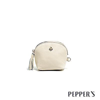 PEPPER`S Doris 牛皮貝殼零錢鑰匙包 - 杏仁白