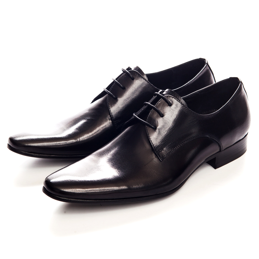 【ALLEGREZZA】經典不敗義式素面綁帶皮鞋-黑色