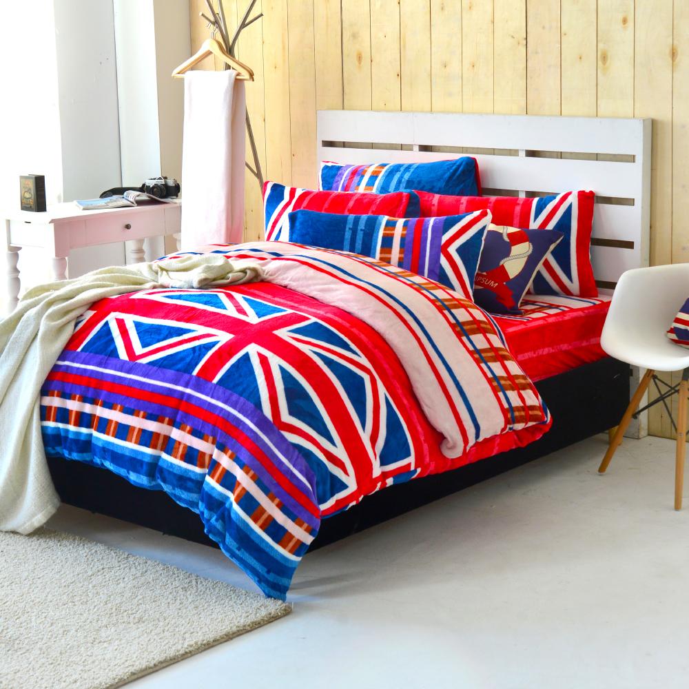 Grace Life 英倫經典 加大法蘭絨被套毯鋪棉床包四件組