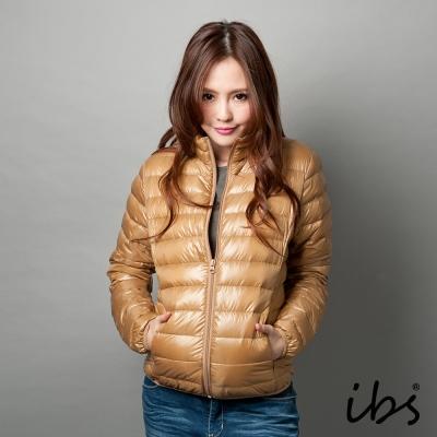 ibs-極輕量純白絨立領羽絨外套-女-深卡其