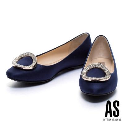 平底鞋-AS-晶鑽圓釦絲光緞布平底娃娃鞋-藍