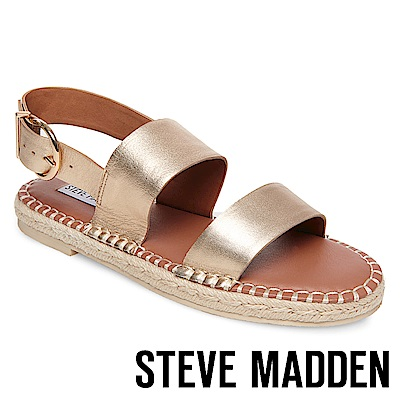 STEVE MADDEN-ETHAN-寬版草編平底涼鞋-金色