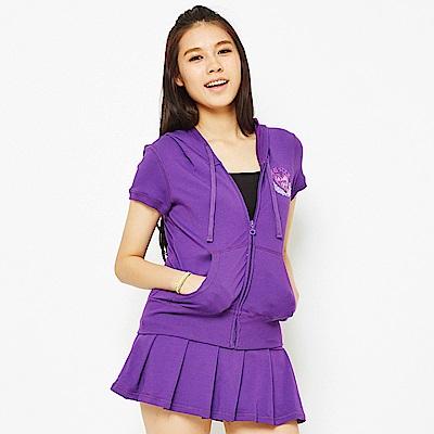 【TOP GIRL】華麗動人- 吸濕排汗休閒針織連帽外套-紫