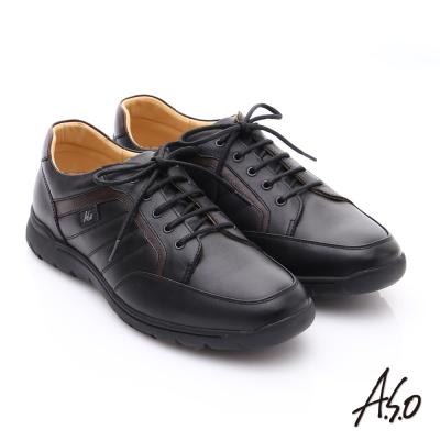 A.S.O 超能耐 牛軟皮綁帶奈米經典休閒皮鞋 黑色