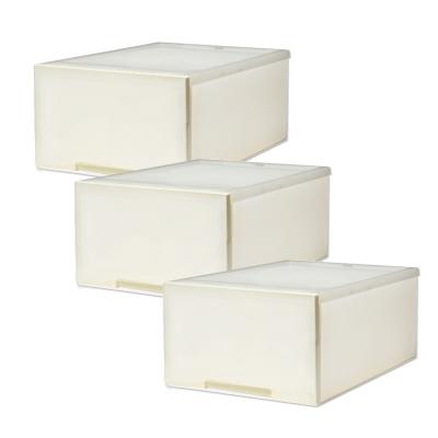 [愛收納]簡約雅白-平板單抽整理箱(30L) (三入)
